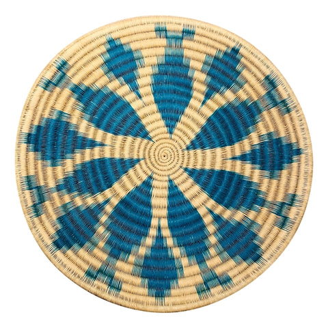 Wounaan Folk Art Plate Basket WP072 - Lt Blue Flower - Unique Handmade Gift