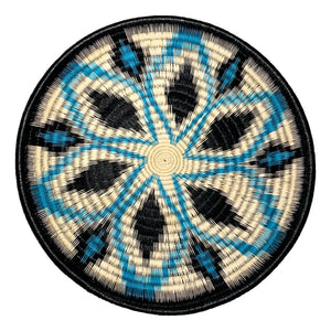 Indigenous Wounaan Art Plate from Colombia. Handmade & Fair Trade. Black, white, blue. Chunga Palm basket