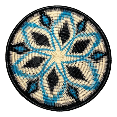 Wounaan Folk Art Plate Basket WP073 - Blue & Black Flower - Unique Handmade Gift