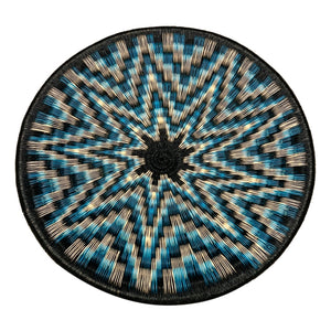 Indigenous Wounaan Art Plate from Colombia. Handmade & Fair Trade. Black & White & Blue. Chunga Palm basket