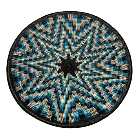 Wounaan Folk Art Plate Basket WP075 - Blue White Black Star - Unique Handmade Gift