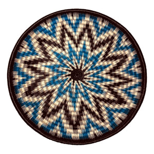 Indigenous Wounaan Art Plate from Colombia. Handmade & Fair Trade. Black, blue, White. Chunga Palm basket