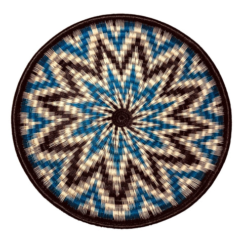Wounaan Folk Art Plate Basket WP076 - Blue White Black Star - Unique Handmade Gift