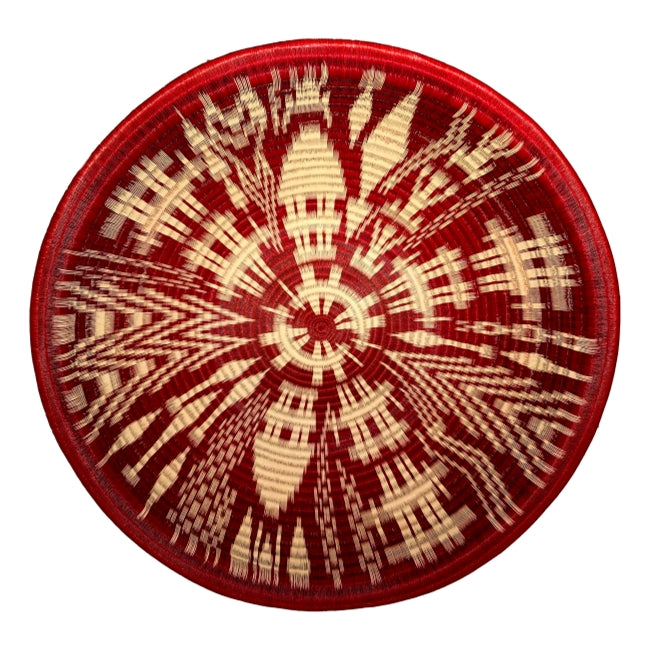 Indigenous Wounaan Art Plate bowl from Colombia. Handmade & Fair Trade. Red & White. Chunga Palm basket