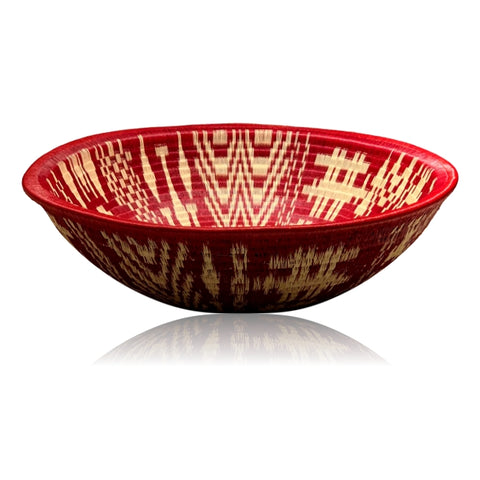 Wounaan Fine Art Plate Basket WP079 - Red & White Village XL Bowl - Unique Handmade Gift