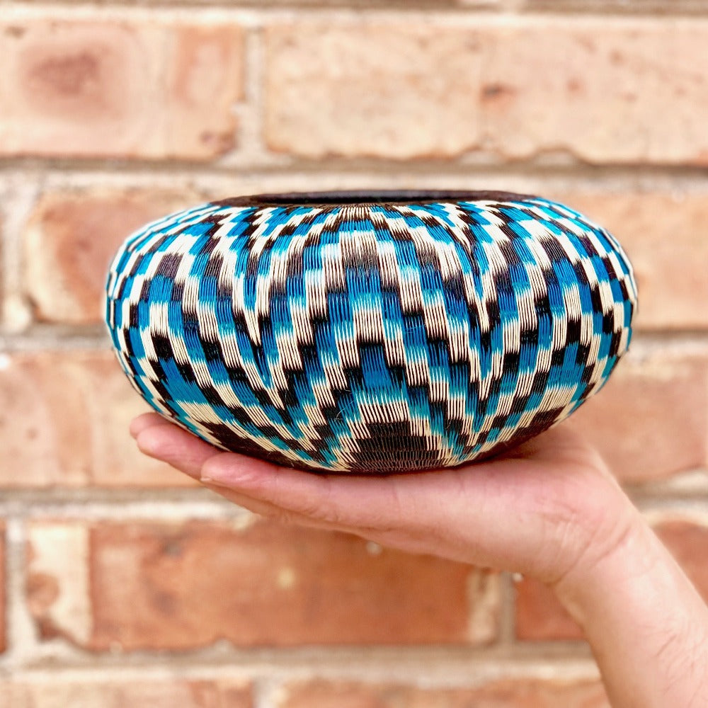 Indigenous Wounaan Art Vase Bowl from Colombia. Handmade & Fair Trade. Black & Blue  Flower design. Chunga palm basket