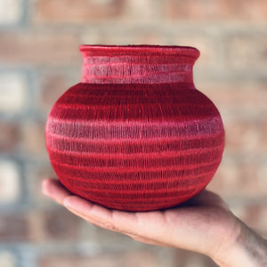 Indigenous Wounaan Art Vase from Colombia. Handmade & Fair Trade. Red Chunga Palm basket