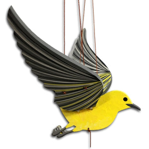 Yellow Prothonotary Warbler Bird Flying Mobile Unique Handmade Gift Audubon Ethical home decor.