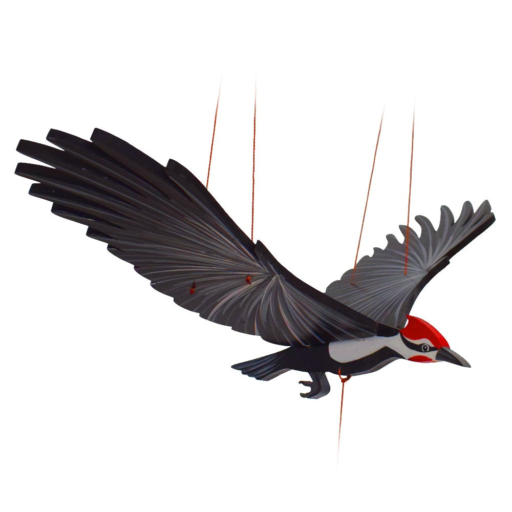Pileated Woodpecker Bird Flying Mobile. Ethical Home Decor. Handmade & Handpainted in Colombia