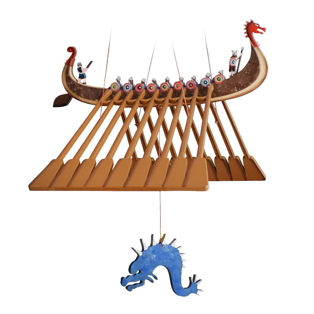 Viking Ship Flying Mobile. Ethical Home Decor. Handmade and Hand Painted in Colombia.
