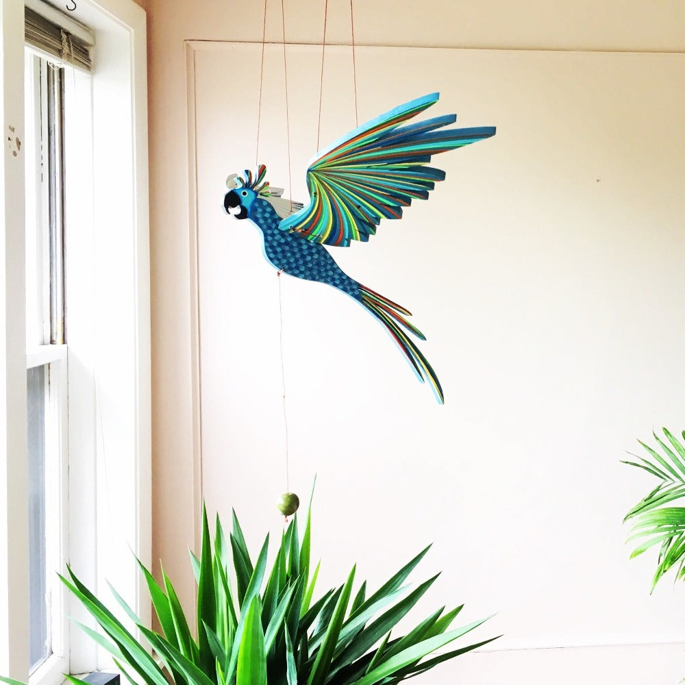 Blue Cockatiel Parrot Flying Bird Mobile - Handmade Gift - Home Decor