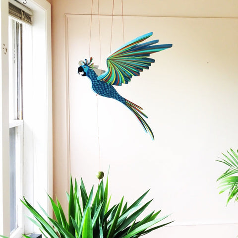 Blue Cockatiel Parrot Flying Bird Mobile - Unique Handmade Gift