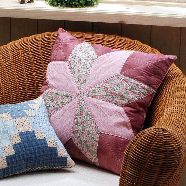Pink Star Patchwork Cushion Cover