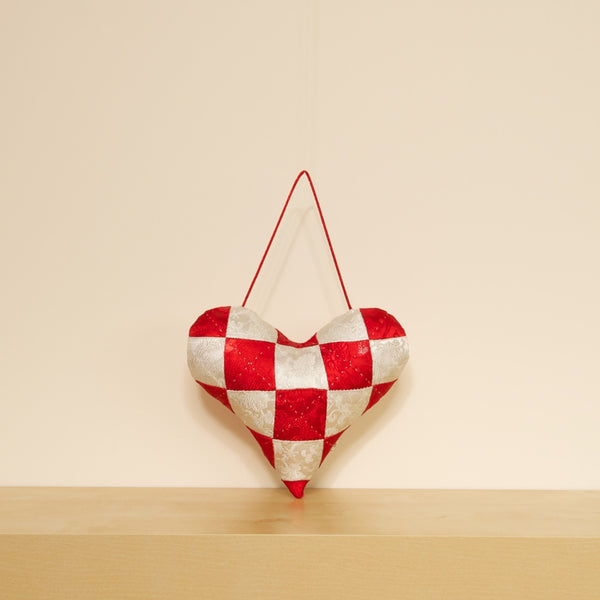 Checkered Heart Cushion