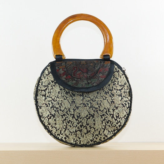 Golden Floral Round Silk Purse