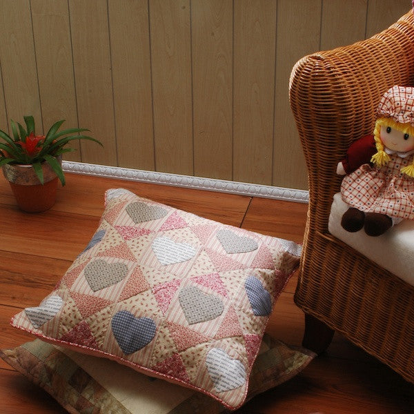 Patchwork Hearts Cushion Cover