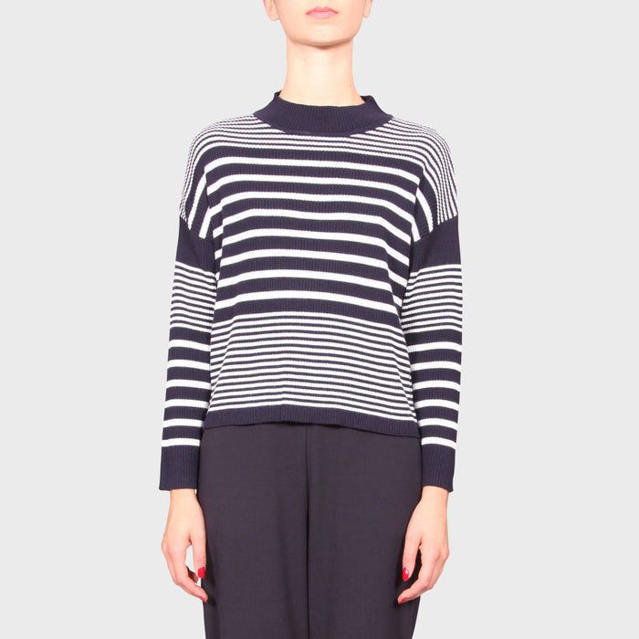 JETTIE KNIT SWEAT / NAVY-WHITE