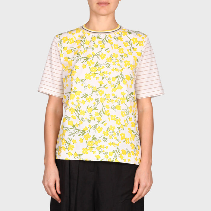 VI TOP / YELLOW FLORA-WHITE-BEIGE