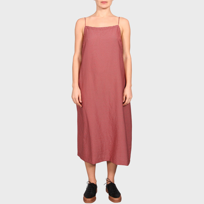 CARLA DRESS / TERRACOTTA-WHITE