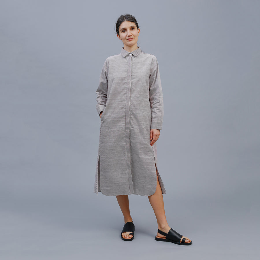 LUCY SHIRT DRESS / WINE-WHITE