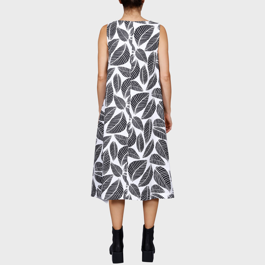 TINA DRESS / WHITE-BLACK