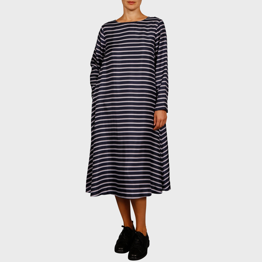 CALEY DRESS / NAVY STRIPE