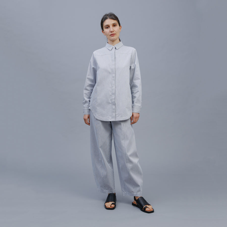 JESSIE SHIRT / STEEL-WHITE