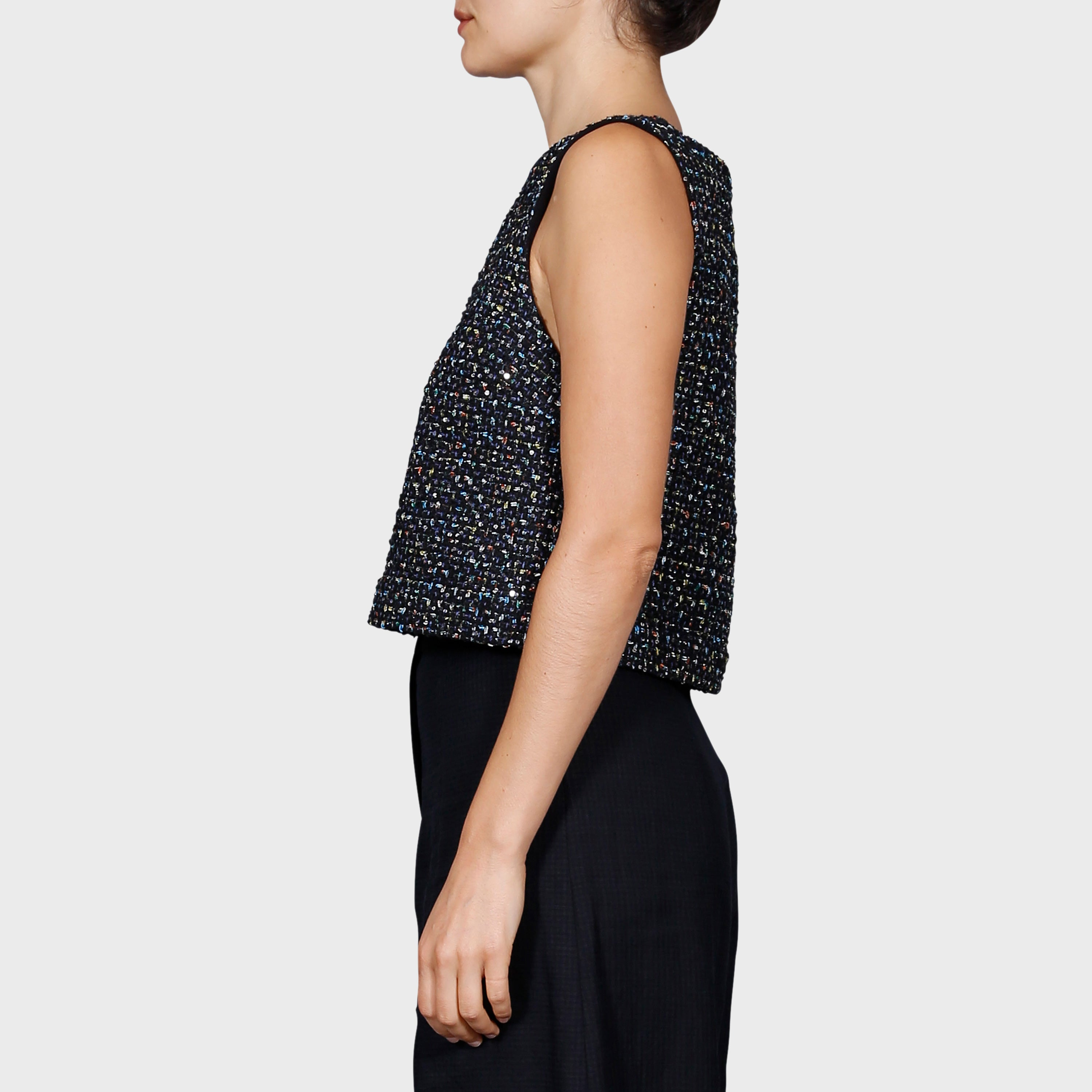SAM TOP / BLACK-MULTI