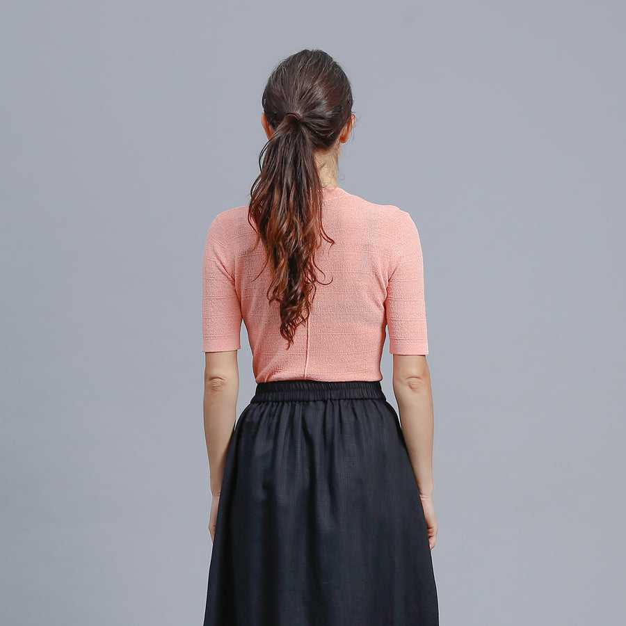 SOLA KNIT TOP / ORANGE-WHITE
