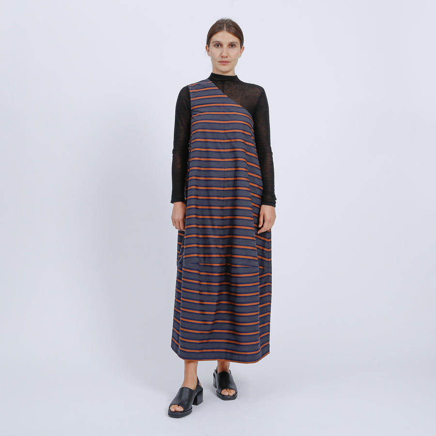 LIN DRESS / CHARCOAL-NAVY-BRONZE