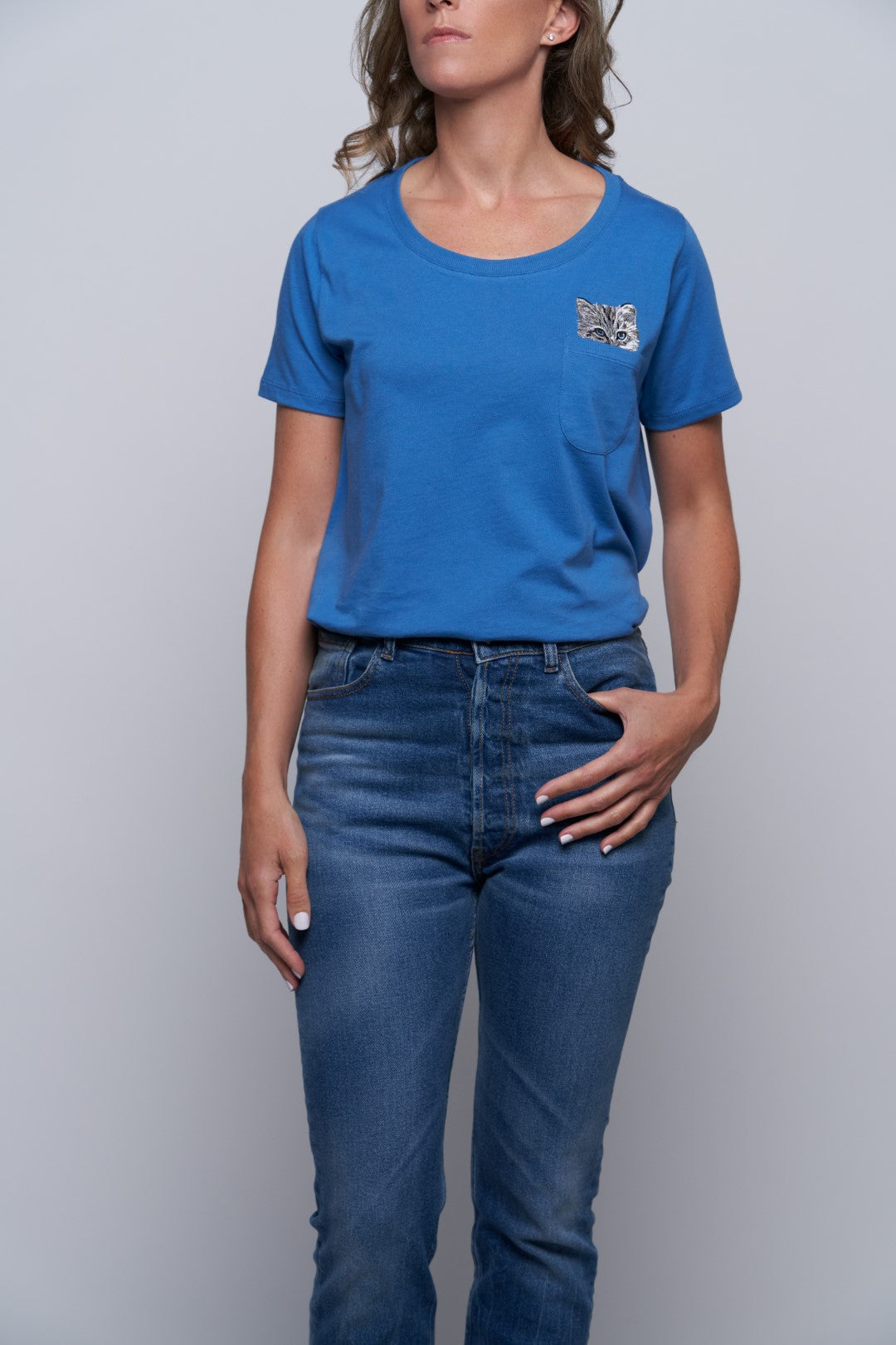 Glendale Cat Pocket Tee - Blue-1