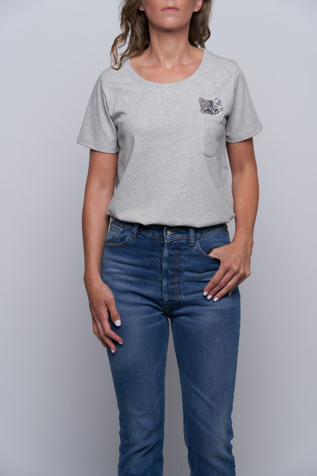 Glendale Cat Pocket Tee - Grey-1