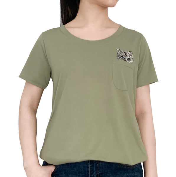Glendale Cat Pocket Tee - Green