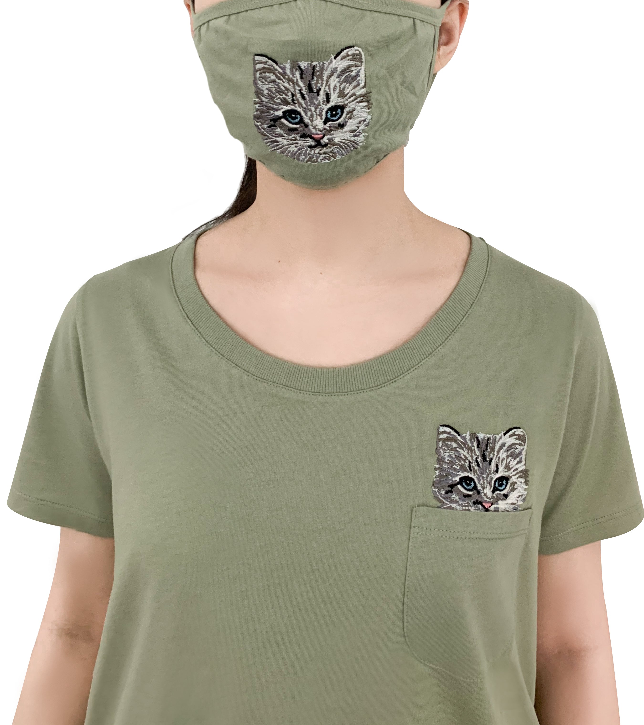Katous Mask Embroidery Cat with lining - Green ***-2