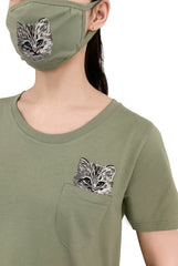 Katous Mask Embroidery Cat with lining - Green ***
