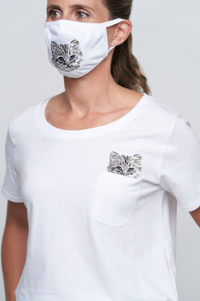 Katous Mask Embroidery Cat with lining