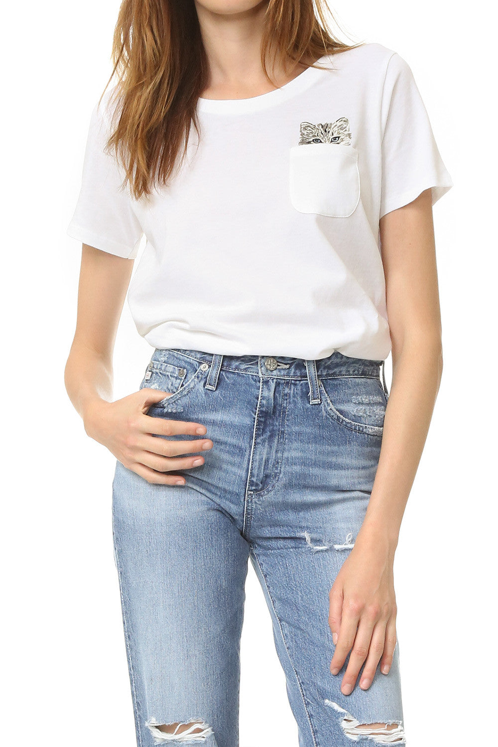 Glendale Cat Pocket Tee - White-1