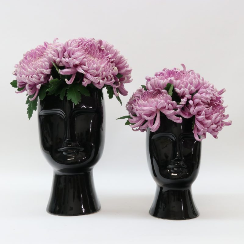 LE FORGE ANGELO CERAMIC MEDIUM BLACK FACE VASE