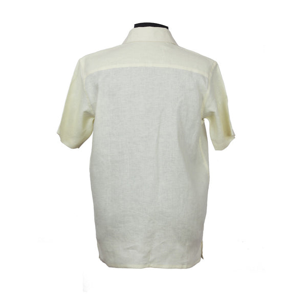 Fabulloso Men's Half Sleeves Linen Shirt Lemon