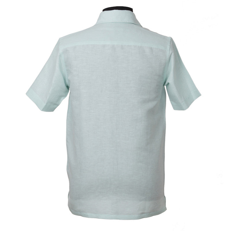 Fabulloso Men's Half Sleeves Linen Shirt Blue