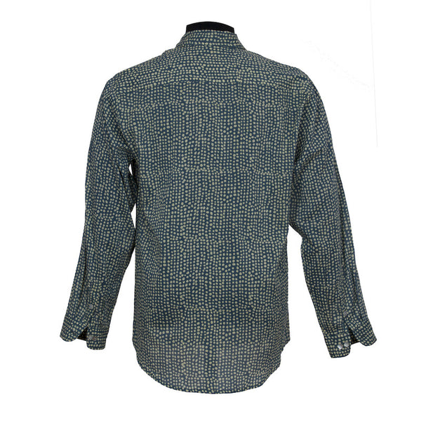 Fabulloso Block Printed Cotton Shirt Teal
