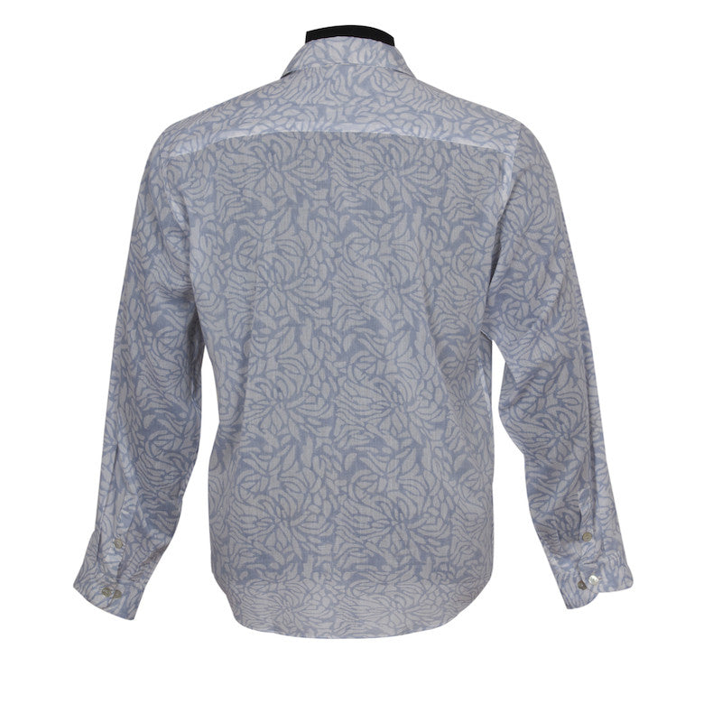 Fabulloso Block Printed Cotton Shirt Grey
