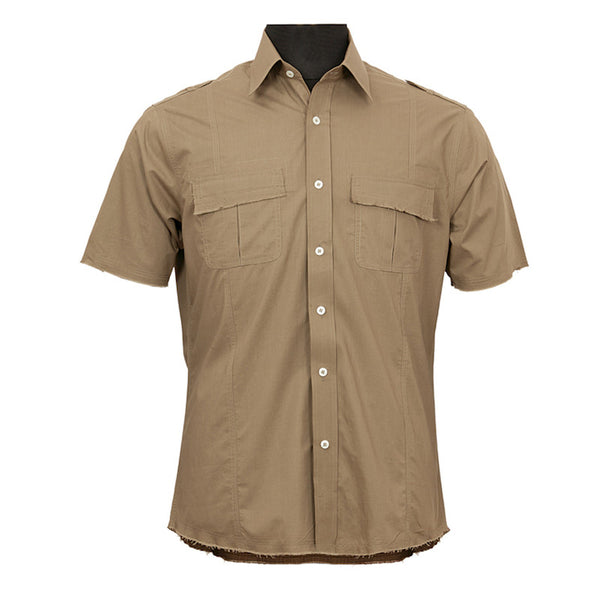 Fabulloso Men's Half Sleeves Khaki Shirt