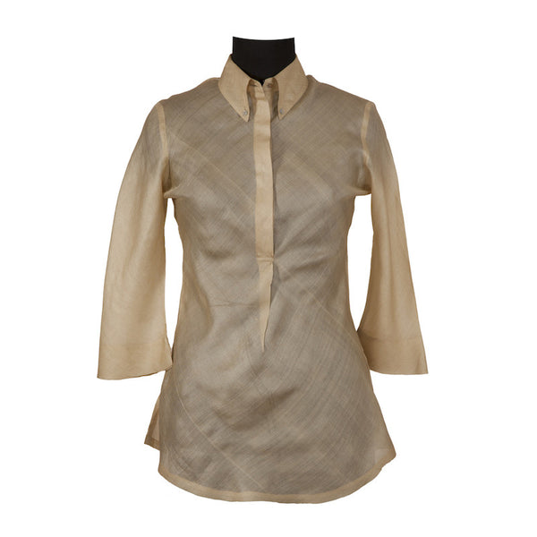 Fabulloso Pale Gold Tussar Silk Top