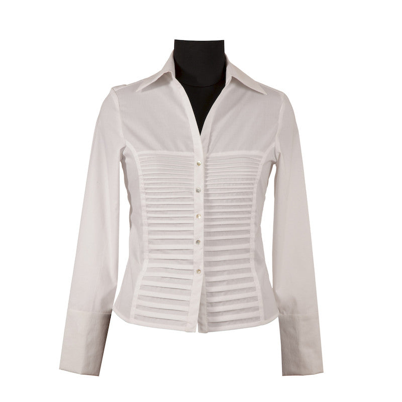 Fabulloso Women's Pintuck White Shirt