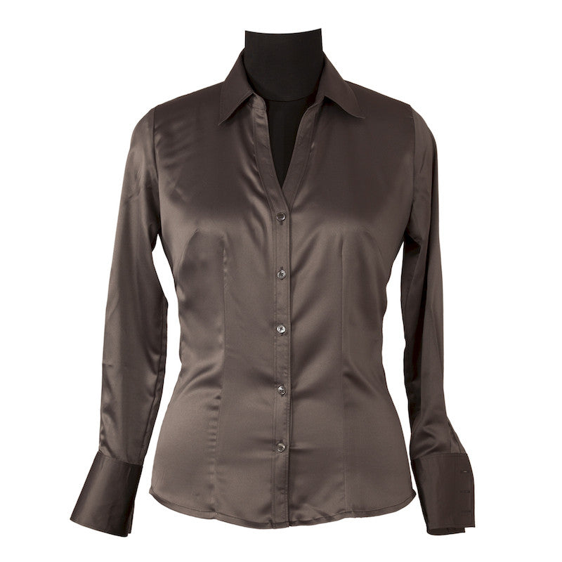 Fabulloso Women's Grey Satin Shirt