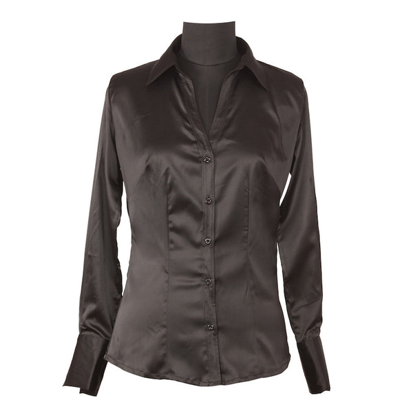 Fabulloso Women's Black Satin Shirt