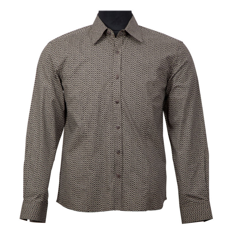 Fabulloso Men's Full Sleeves Brown Shirt