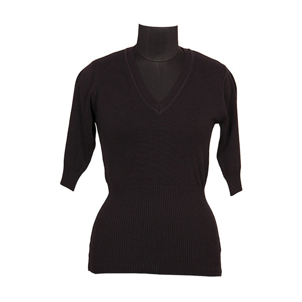 Fabulloso Black Wool Knit Top