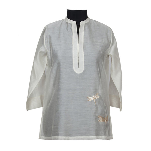 Fabulloso Cream and Gold Embroidered Dragonfly Chanderi Tunic